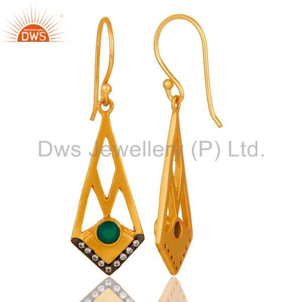 Suppliers 18k Gold Plated Traditional Dangle Earrings with Green Onyx & Cubic Zarconia