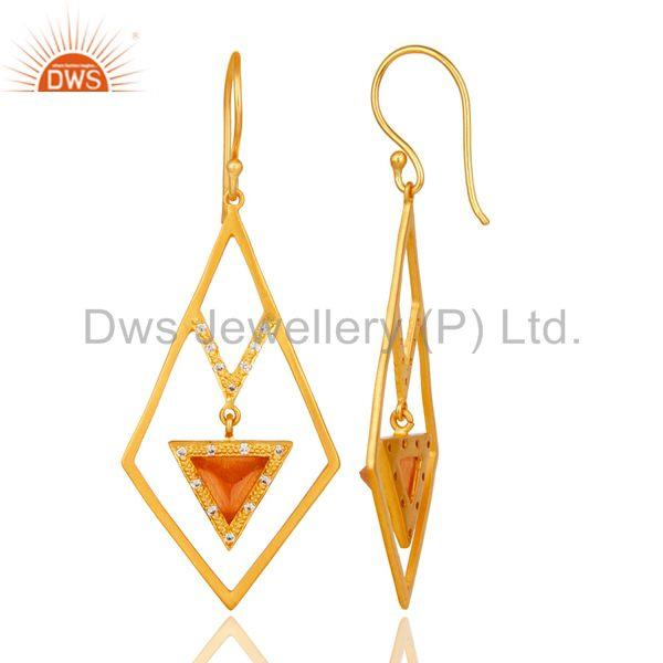 Suppliers 18k Gold Plated Traditional Dangle Earrings with Moonstone & Cubic Zarconia