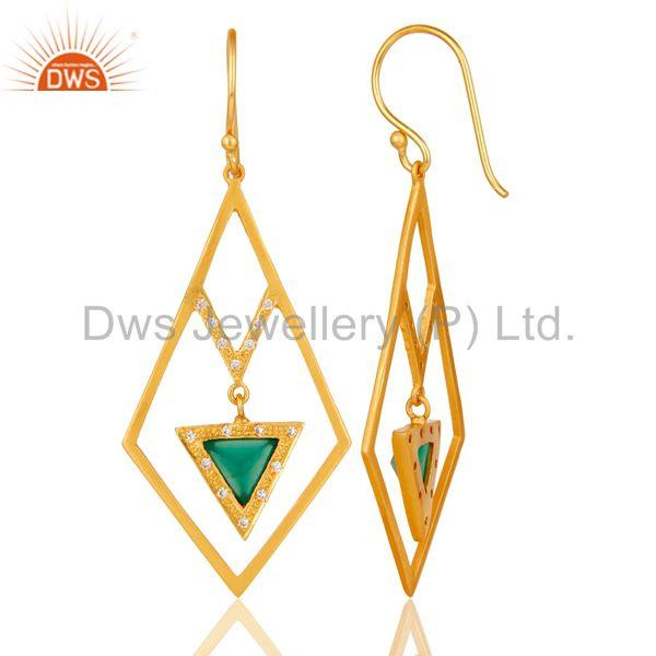 Suppliers Lovely Zig Zag Style Brass Earrings 18k Gold Plated with Green Onyx & CZ
