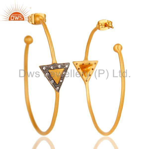 Suppliers 18k Yellow Gold Plated Traditional Handmade Brass Earrings with White Zircon