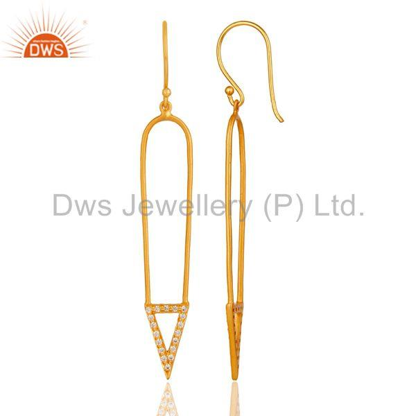 Suppliers Traditional 18k Gold Plated Long Arrow Charm Design White Zircon Brass Earrings