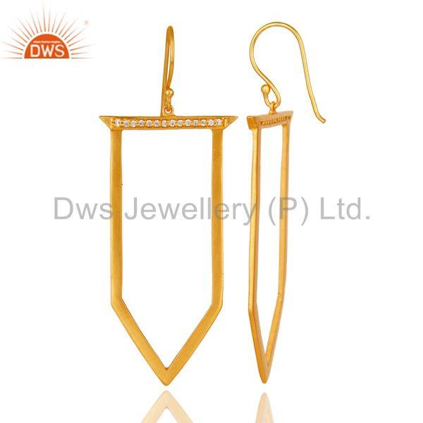 Suppliers Traditional Handmade Ice Cream Design Brass Earrins with 18k Gold Plated & CZ