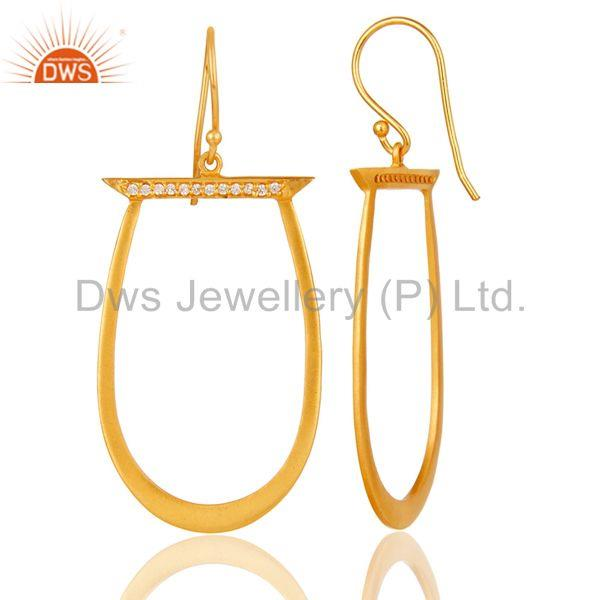 Suppliers White Zircon Gold Plated Brass Fashion Drop Earrings Manufacturers