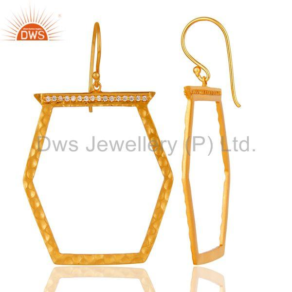Suppliers Designer Brass Gold Plated Fashion Cz Gemstone Earring Jewelry