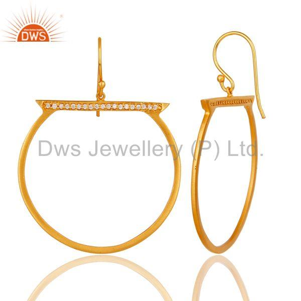 Suppliers 18K Yellow Gold Plated Handmade White Zirconia Drops Brass Earrings
