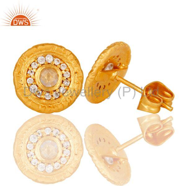 Suppliers 18k Gold Plated Round Hanmde Brass Stud Earrings with Cubic Zarconia