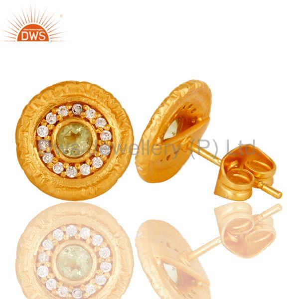 Suppliers 18k Gold Plated Round Hanmde Brass Stud Earrings with Peridot & Cubic Zarconia