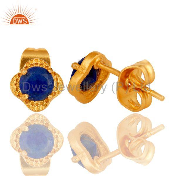 Suppliers 18k Yellow Gold Plated With Round Lapis Brass Stud Earrings Jewellery