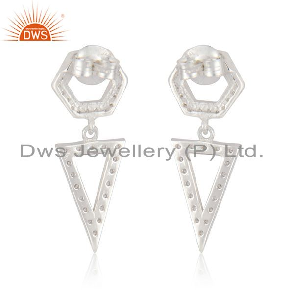 Suppliers Triangle Shape Fine Sterling Silver Handmade Zircon Earrings Manufacturer India