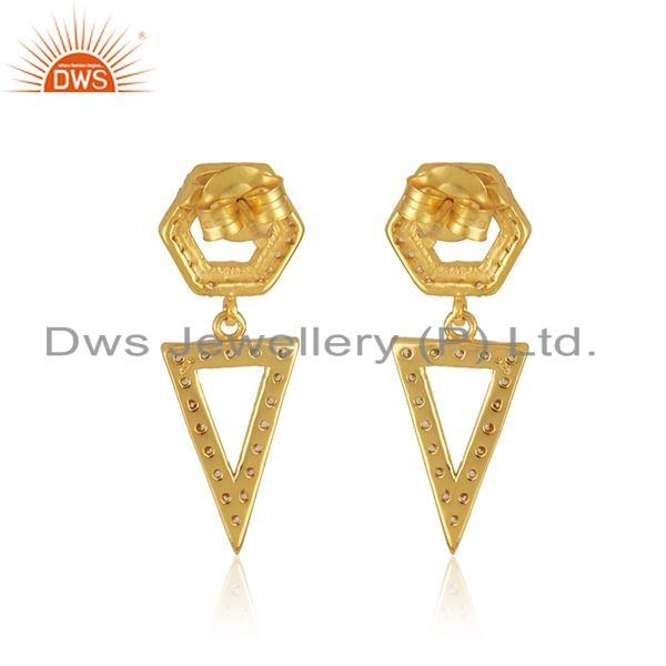 Suppliers White Zircon Yellow Gold Plated 925 Silver Girls Earrings Jewelry Wholesale