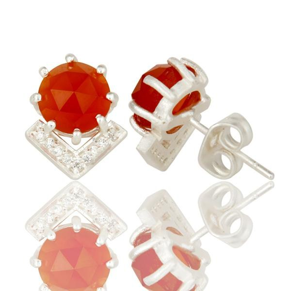 Suppliers Carnelian and White Zircon With Sterling Silver Plated Brass Stud Earrings