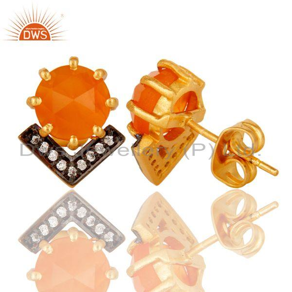 Suppliers Carnelian and White Zircon New Look Fashion Design Brass Stud Earrings