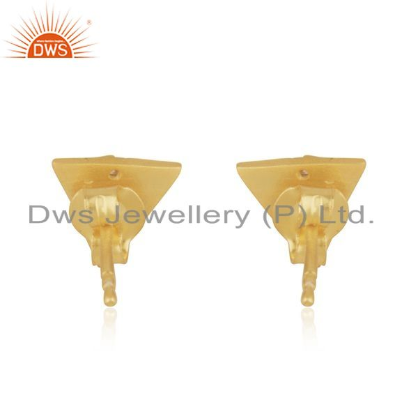 Suppliers Gold Plated 925 Silver Triangle White Zircon Stud Earrings Manufacturer Jaipur