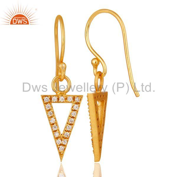 Suppliers 18k Gold Plated Handmade Arrow Design Brass Dangle Earrings with White Zircon