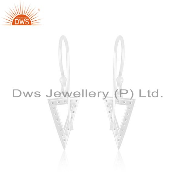 Suppliers Triangle Shape Fine Sterling 925 Silver Designer Earrings Wholesaler From India