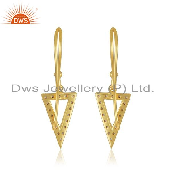Suppliers Triangle Design 925 Silver Yellow Gold Plated White Zircon Drop Earring Supplier