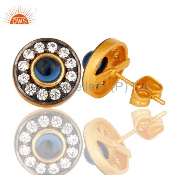 Suppliers 18k Gold Plated Round Hanmde Brass Stud Earrings with Corrundum & CZ