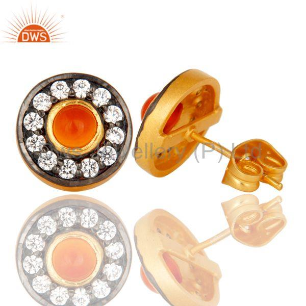 Suppliers Carnelian Gemstone Round Stud Brass Fashion Earrings Manufacturers