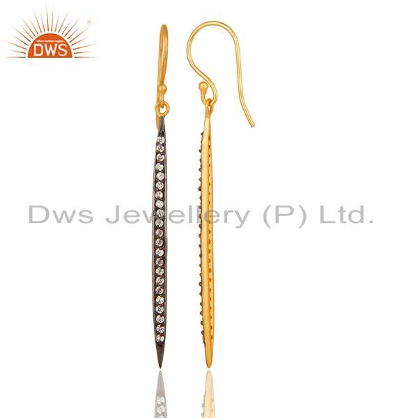 Suppliers 18k Gold Plated Traditional Brass Dangle Earrings with White Zircon