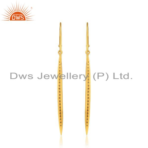 Suppliers Liner Shape Gold Plated Silver Cz Designer Earring Jewelry