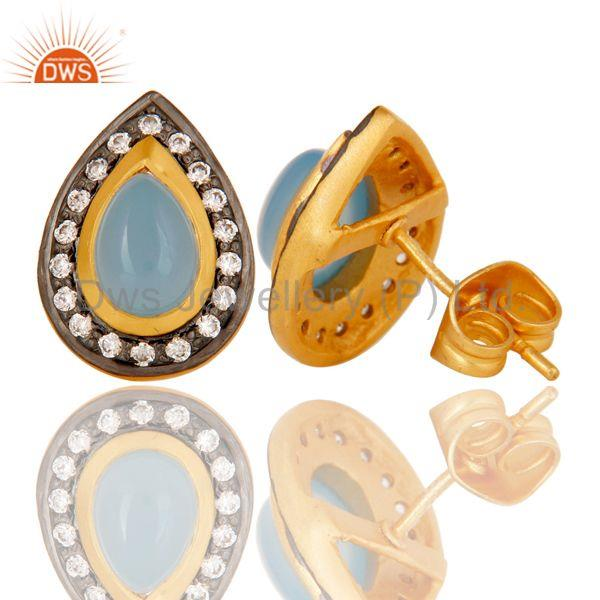 Suppliers 18k Gold Plated Handmade Pear Shpe Design Brass Earrings with Chalcedony & CZ