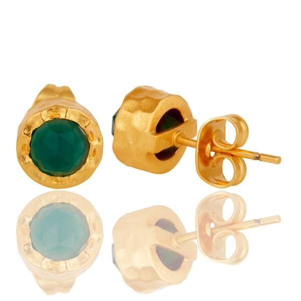 Suppliers 18k Gold Plated With Green Onyx Brass Stud Earrings Jewellery