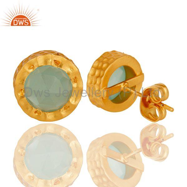 Suppliers 18k Gold Plated With Aqua Brass Stud Earrings Jewellery