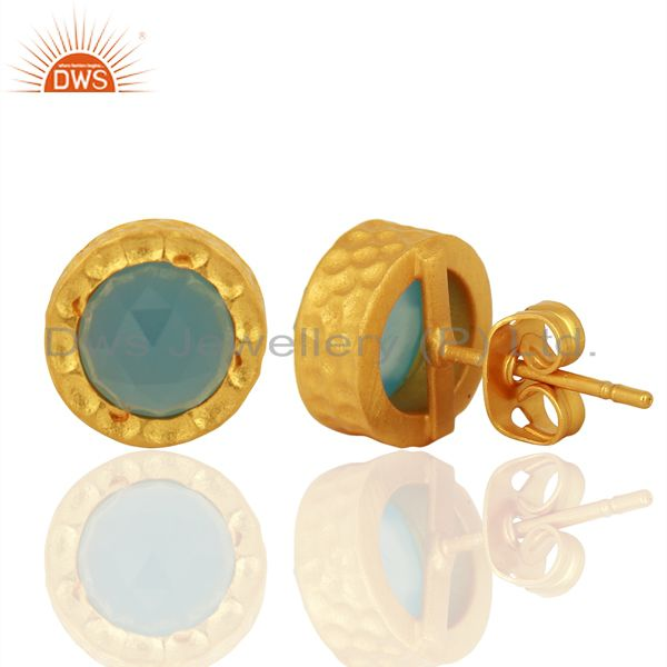 Suppliers 18k Gold Plated With Chalcedony Brass Stud Earrings Jewellery