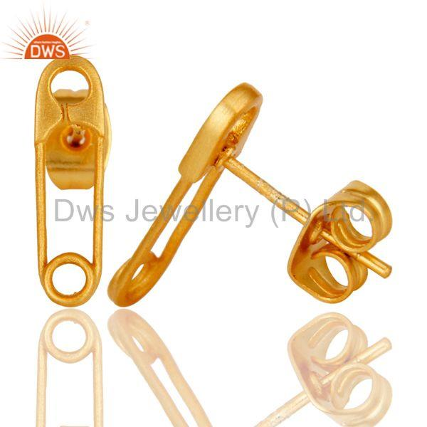 Suppliers Handmade Pin Style Drops Brass Earrings Jewellery With 18k Gold Plated
