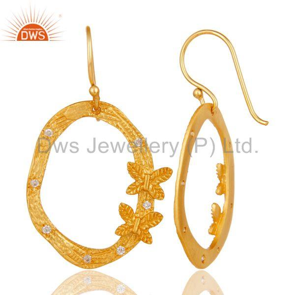 Suppliers Butterfly Design Gold Plated Brass Fashion CZ Earrings Manufacturers
