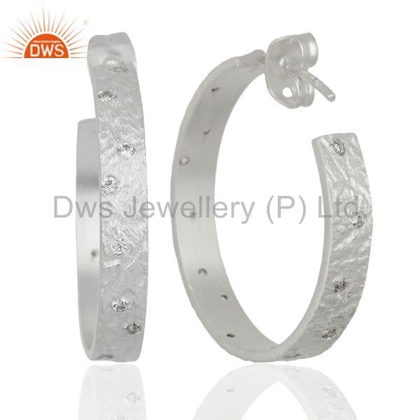 Suppliers Silver Plated Brass Handmade Cz Hoop Earrings  Jewelry Manufacturers