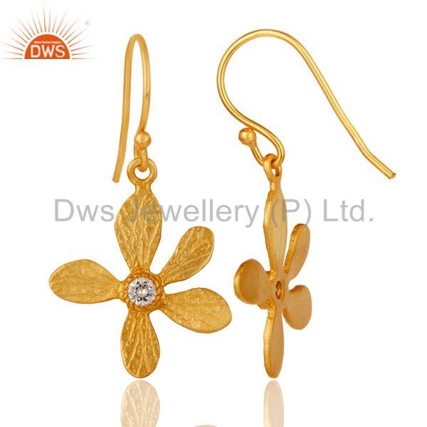 Suppliers Traditional Handmade 18k Yellow Gold Plated Flower Design Brass Earrings with CZ
