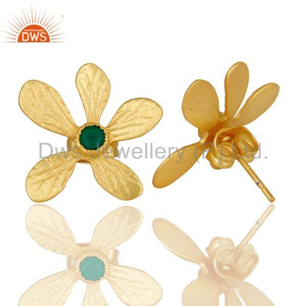 Suppliers Handmade 18k Gold Plated Flower Design Brass Studs Earrings With Green Onyx