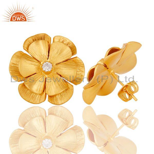 Suppliers Floral Design Gold Plated Designer Brass Fashion Stud Earring Supplier