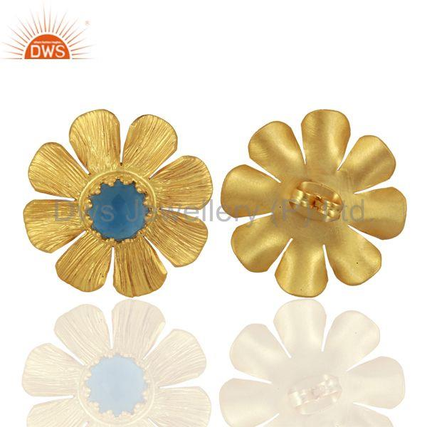 Suppliers Blue Chalcedony Stud 18K Yellow Gold Plated Brass Earrings Jewelry