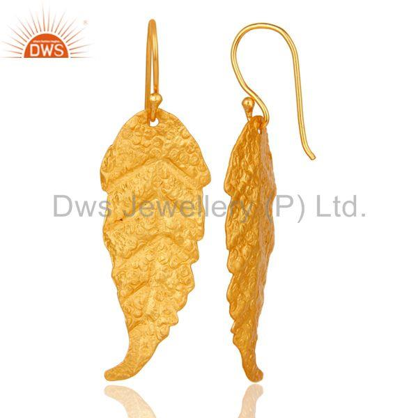 Suppliers Traditional Handmade Leaf Design Brass Earrings with 18k Gold Plated