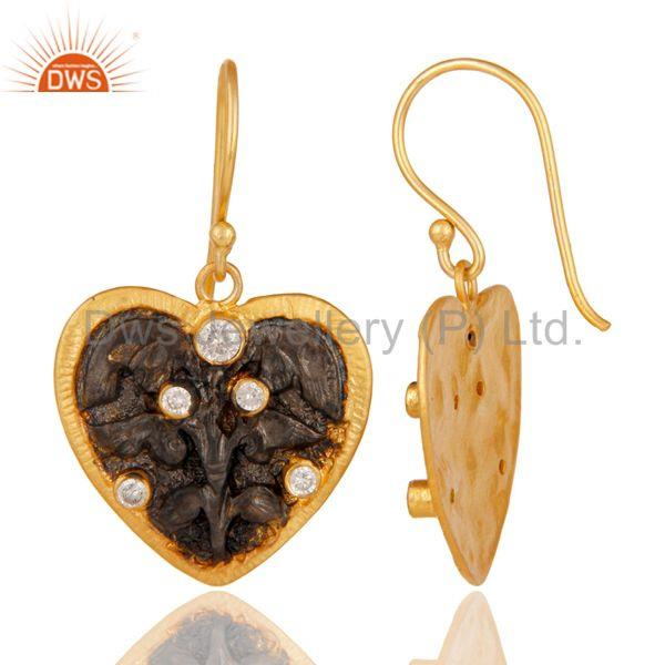 Suppliers Traditional Handmade White Zircon Fashion Design Earrings With 22k Gold Plated
