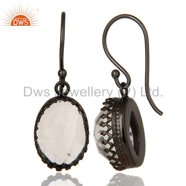 Suppliers Crystal Quartz Gemstone Black Rhodium Plated Brass Earrings Supplier