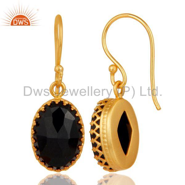 Suppliers Black Onyx Gemstone Gold Plated Brass Fashion Drop Earrings Wholesale
