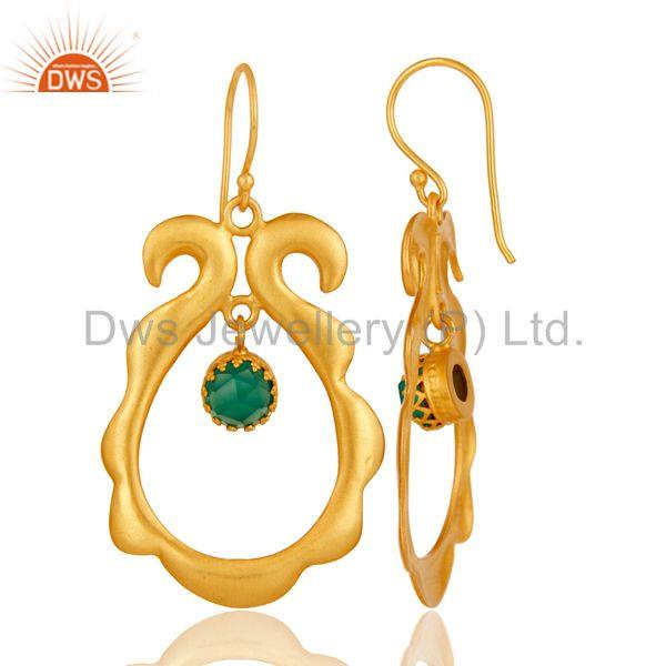 Suppliers Amazing 18k Gold Plated Brass Drops Earrings Jewellery With Green Onyx