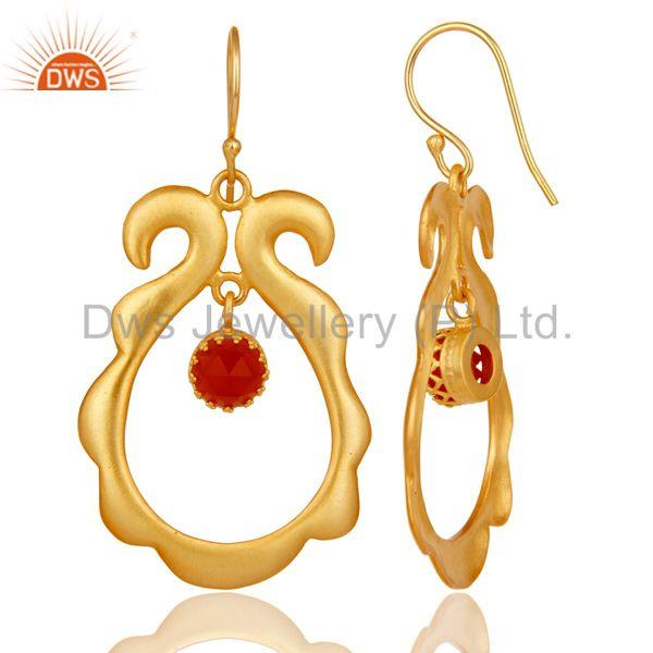 Suppliers Red Onyx Gemstone 18k Gold Plated Brass Fashion Womens Earrings