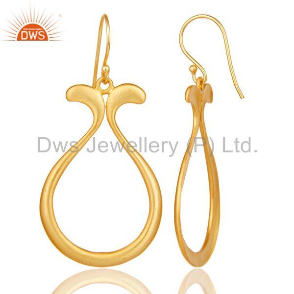 Suppliers 18k Yellow Gold Plated Handmade Temple Design Brass Drops Earrings Jewellery