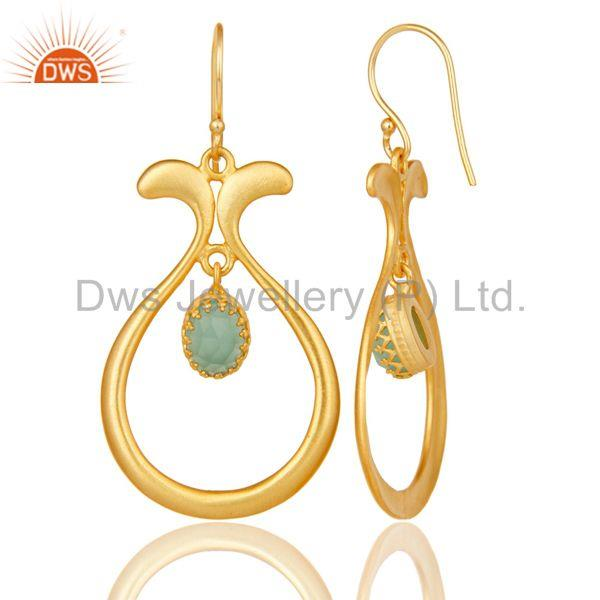 Suppliers 18K Yellow Gold Plated Handmade Temple Design Aqua Cultured Brass Drops Earrings