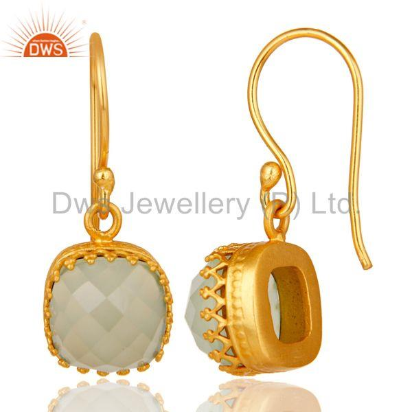 Suppliers Traditional Handmade Design 18k Yellow Gold Plated Chalcedony Brass Drop Earring