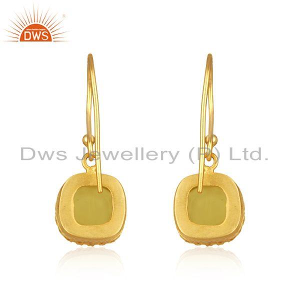 Suppliers Yellow Moonstone Gold Plated Brass Fashion Earring Manufacturer