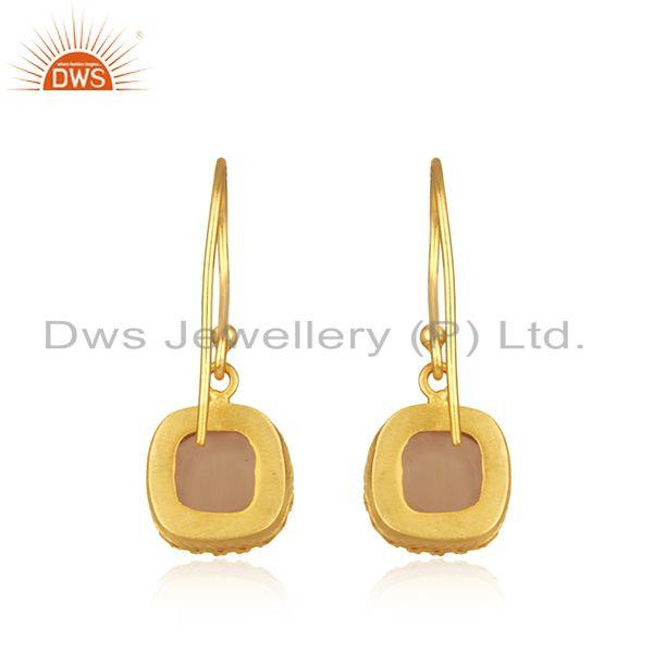 Suppliers Crown Design Gold Plated Brass Fashion Gemstone Earring Manufacturer