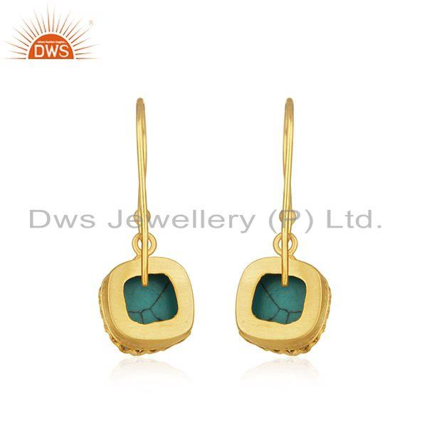 Suppliers Matrix Turquoise Gemstone Gold Plated Brass Earrings Manufacturer