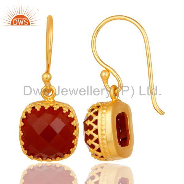 Suppliers Handmade Square Cut Design 18k Yellow Gold Plated Red Onyx Brass Drop Earrings