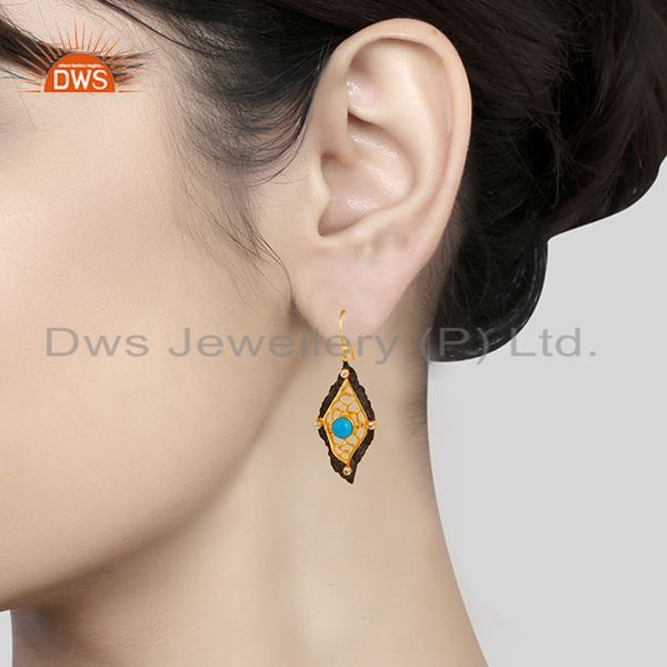 Suppliers Indian Designer Gold Plated Brass Fashion Gemstone Earrings Supplier