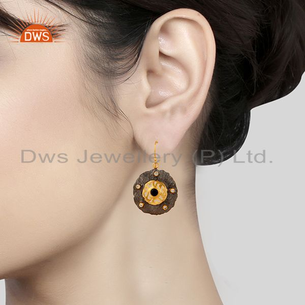 Suppliers Black Onyx Gemstone Black and Gold Plated Brass Fashion Earrings